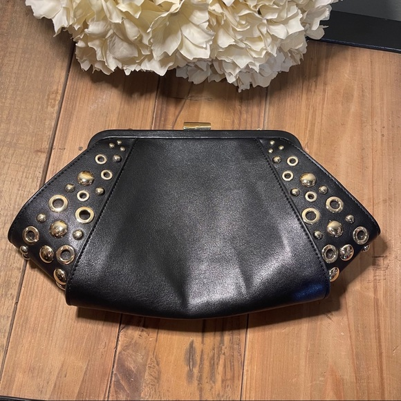 White House Black Market Black and Gold Clutch